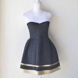 SANS SOUCI Black Gold Strapless Bandage Dress MED